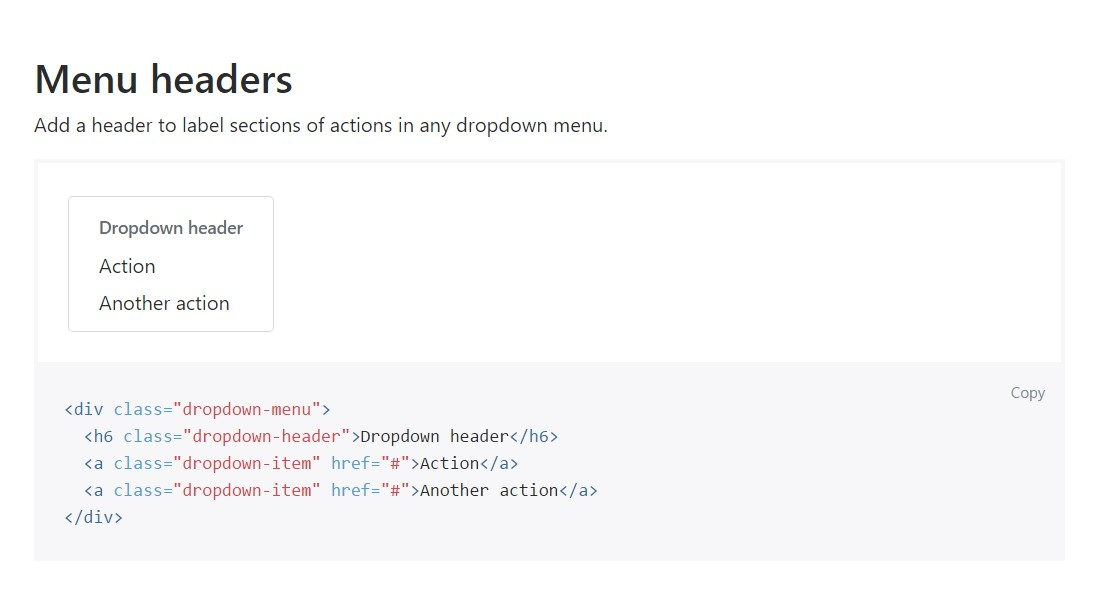 Bootstrap Header:  approved documentation