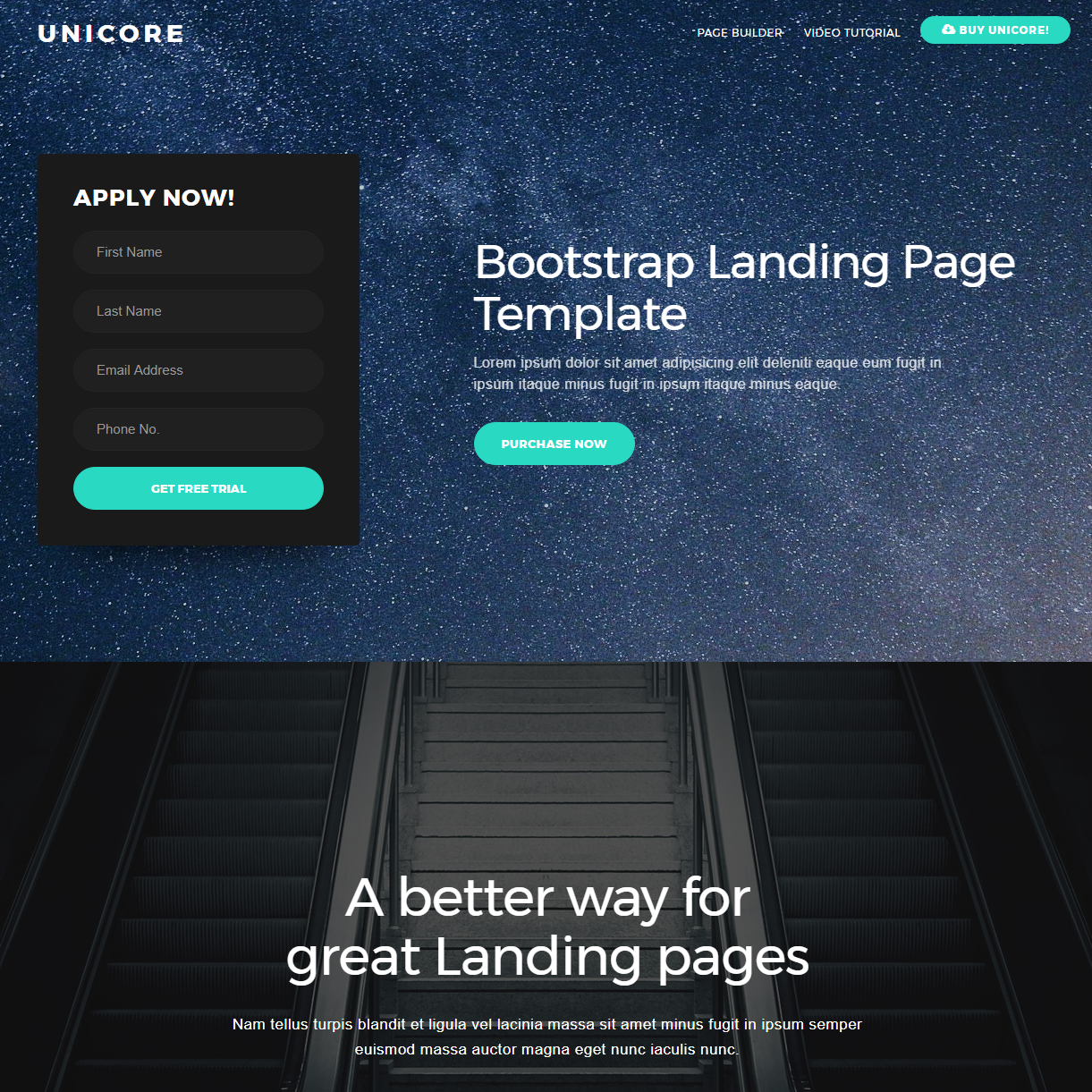 HTML Bootstrap One Page Themes