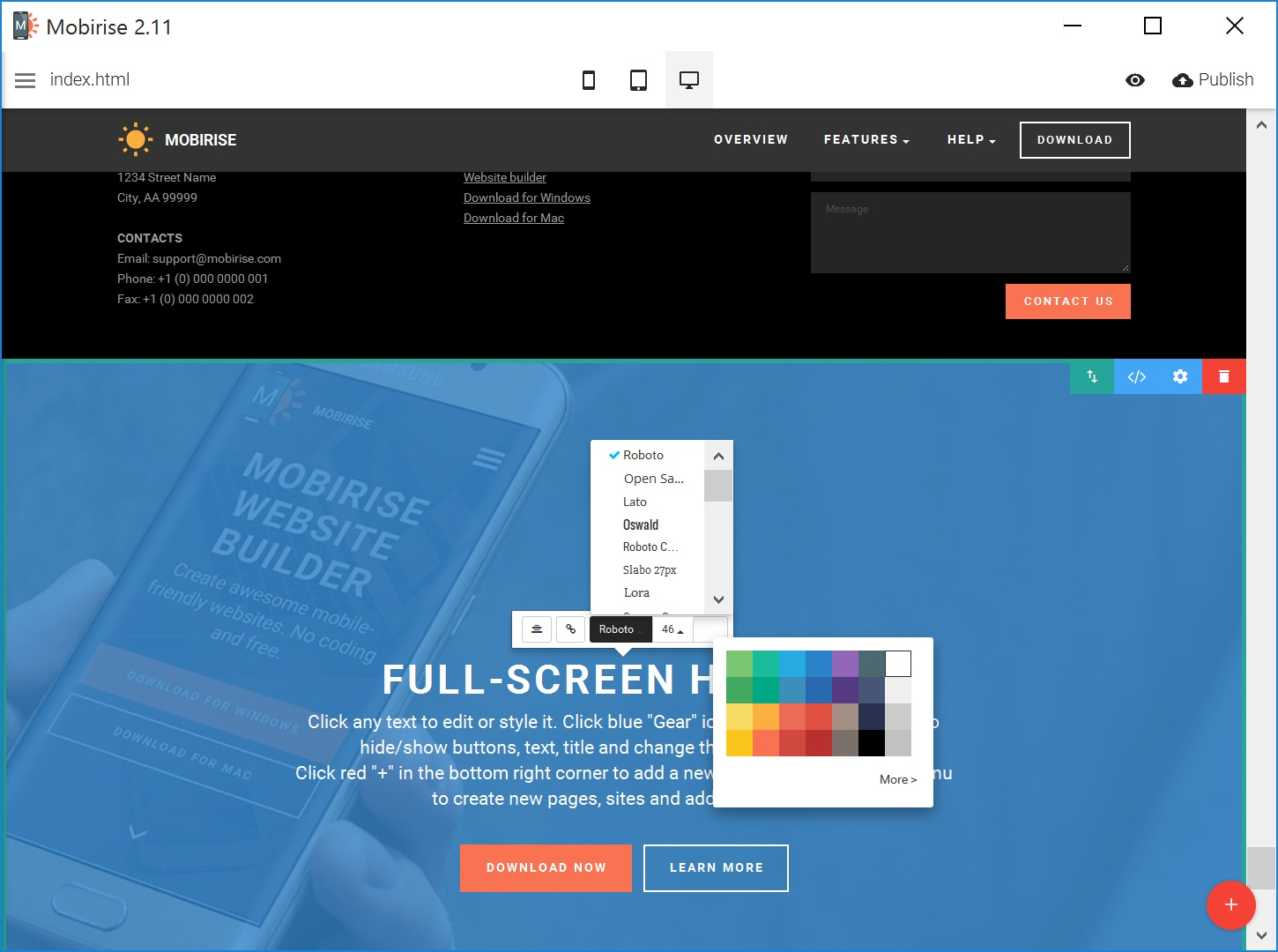 Bootstrap Simple Website Builder Tool