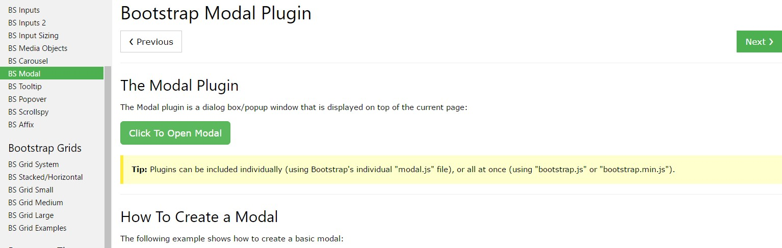 Bootstrap Modal Popup:  training  article