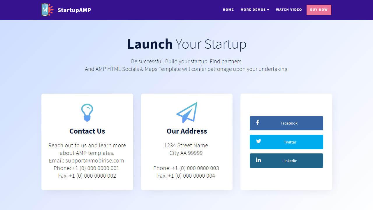 AMP Socials & Maps Template